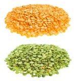 Loose yellow & green split peas. Dry yellow and green split peas on white background Royalty Free Stock Photos