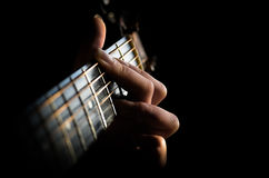 Loose your soul in music. Searching for the lost chord on the guitar Stock Images