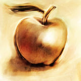 Loosely painted golden apple Stock Photo
