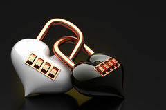 Loosen the lock code puzzle heart. Black and white heart-shaped padlock puzzle 3d rendering Stock Image
