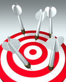 Looser. Five darts hit the target, but none hits the mark. Failure business concept. 3D image stock illustration