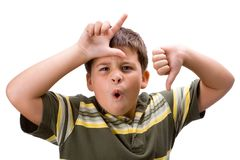 Looser boy. Boy with dirty hands in white background royalty free stock photography