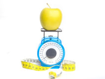 Loosing weight on apples Royalty Free Stock Images
