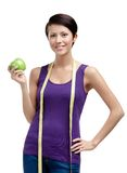 Loosing weight woman with flexible ruler Stock Photos