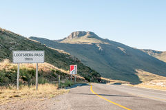 Lootsberg Pass between Graaff Reinet and Middelburg in South Afr. Ica. The pass is often closed in Winter due to heavy snowfalls Royalty Free Stock Images