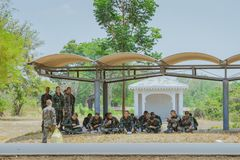 LOPBURI THAILAND, MARCH 24, 2019 : Thai cadets relax after completing the parachute training at Ban Tha Duea Drop Zone on March 24 royalty free stock images