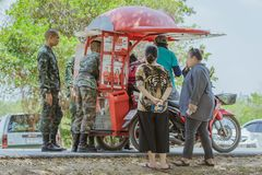 LOPBURI THAILAND, MARCH 24, 2019 : Thai cadets relax after completing the parachute training at Ban Tha Duea Drop Zone on March 24 royalty free stock photo