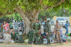 LOPBURI THAILAND, MARCH 23, 2019 : Thai cadets relax after completing the parachute training at Ban Tha Duea Drop Zone on March 23 royalty free stock photos
