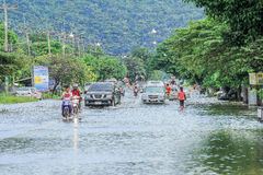 Lopburi, Thailand October 6, 2011: rain for several days, causing flooding streets and public houses. stock images