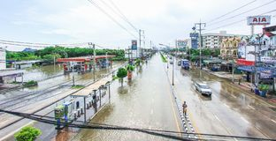 Lopburi, Thailand October 6, 2011: rain for several days, causing flooding streets and public houses. stock image