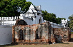 Lopburi, Thailand: White-washed Defense Walls at Thai Palace Stock Photo