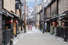 Lopend in Gion, Kyoto, Japan Royalty-vrije Stock Afbeeldingen