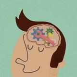 Lopend hoofd en Brain Gears Royalty-vrije Stock Foto