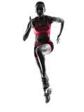 Lopend jogger de joggingsilhouet van de vrouwenagent royalty-vrije stock foto