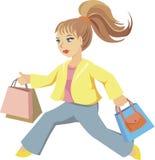 Lopend meisje met zakken vector illustratie