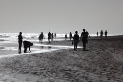 Lopend op het strand, Fuerteventura Stock Foto's
