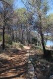 Lopend Weg langs Salt Lake 'Mir 'op het Eiland Dugi Otok, Kroatië royalty-vrije stock afbeeldingen