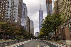 Lopend weg in Manhattan de stad in, New York stock afbeelding