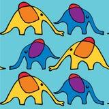 Lopende beeldverhaalolifanten vector illustratie