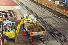 Lopende de bouw van de spoorweg Royalty-vrije Stock Afbeelding