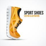 Lopende gebogen oranje schoenen Heldere Sporttennisschoenen Stock Foto's
