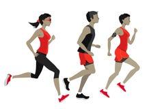 Lopende marathon, mensenkarakters, looppas Stock Foto's