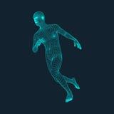 Lopende Mens Veelhoekig Ontwerp 3D Model van de Mens Geometrisch ontwerp Bedrijfs, Wetenschaps en Technologie Vectorillustratie Royalty-vrije Stock Afbeeldingen