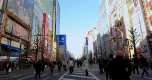 Lopende mensen bij de vakantiestraat in wijd geschoten dag van Akihabara Tokyo stock video