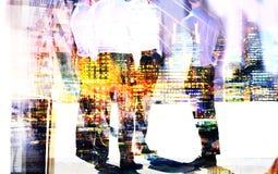 Lopende mensen in de Stad van Londen Veelvoudig blootstellingsbeeld Londen royalty-vrije stock foto's