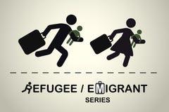 Lopende mensen met kinderen en koffers Emigrant/vluchtelingsreeks Stock Foto's