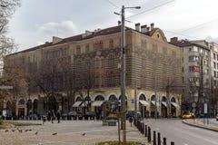 Lopende mensen op Boulevard Vitosha in stad van Sofia, Bulgarije Stock Afbeelding