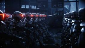 Lopende militaire robots Invasie van militaire robots Dramatisch apocalyps super realistisch concept toekomst het 3d teruggeven royalty-vrije illustratie