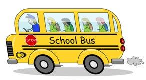 Lopende schoolbus Stock Foto's