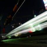 Lopende Trein bij Nacht, Tokyo Stock Foto's