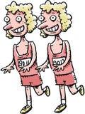 Lopende tweelingen stock afbeeldingen