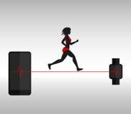 Lopende vrouw en smartphone met smartwatch Stock Foto's