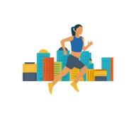 Lopende Vrouw Gezond levensstijl, geschiktheids en fysische activiteitconcept Stock Afbeeldingen