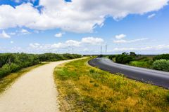 Lopende weg, Palo Alto Baylands Park, Californië stock fotografie