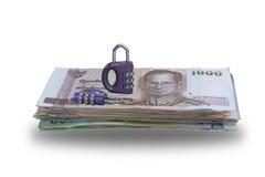 Loper die voor het Concept van de Geldbesparing gebruiken Stock Fotografie