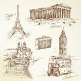 Lopp över Europa vektor illustrationer