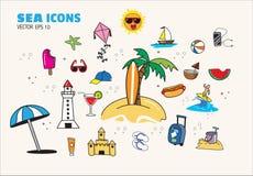 Lopp för ferie för symbolshavsstrand Stock Illustrationer
