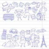 Lopp för klottervektoruppsättning, semester, affärsföretag Barn med föräldrar som förbereder sig för din resa Dagis skola vektor illustrationer