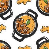 Lopp för mat för indisk modell för kokkonst sömlös nationellt till Indien vektor illustrationer