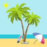 Lopp för solsken för illustration för vektor för kust för hav för seach för sommartid realistiskt åtföljande royaltyfri illustrationer