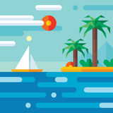 Lopp för sommarsemester - vektorbegreppsillustration i plan stildesign Illustration för lägenhet för ferieparadisvektor Royaltyfri Bild