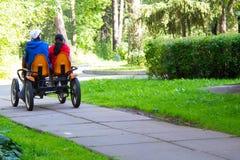 Lopp för två unga kvinnor på den tvilling- cykeln Koppla av i det härliga pet arkivfoto
