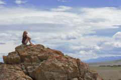 Lopp i bergen Arkivfoto