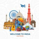 Lopp i det Indien begreppet Indisk mest ber?md siktupps?ttning Arkitektoniska byggnader Turist- bakgrund med resväskor royaltyfri illustrationer