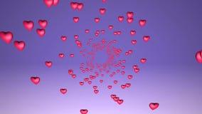 Lopp i en tunnel av röda hjärtor