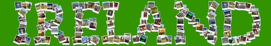 Lopp i Irland Collage som göras av polaroids Royaltyfri Foto